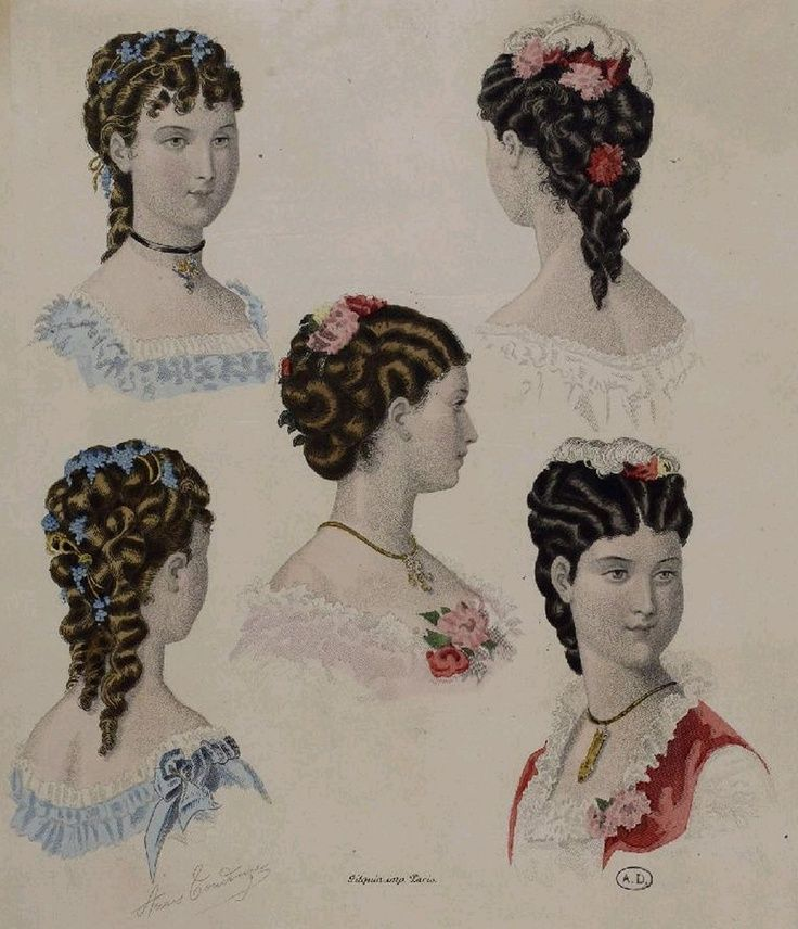 Coloured fashion plate showing hair styles of the 1880s
