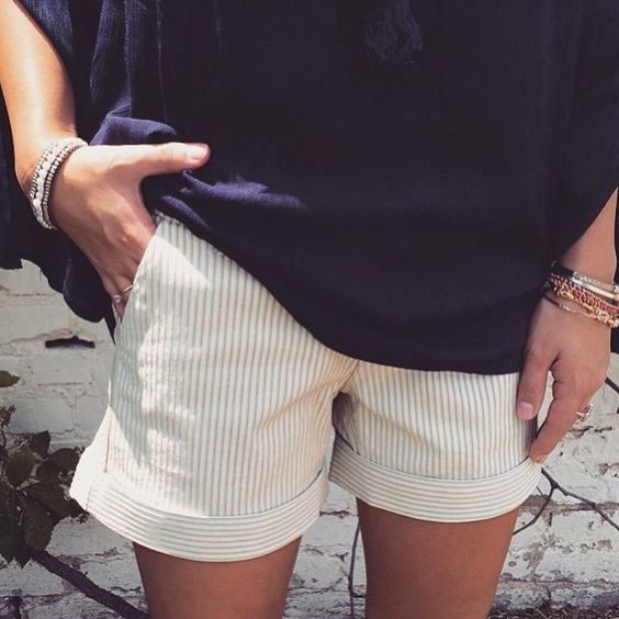 Dear John Hampton shorts. Stitch Fix shorts. 2016 Summer Fashion. Beige & white striped shorts.