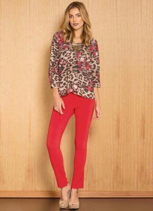 Blusa Animal Print + Calça Vermelha
