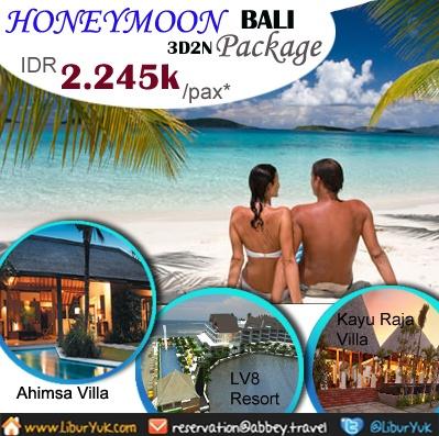 Banyak pasangan yang memilih pulau Bali sebagai tempat honeymoon karena Bali kaya akan kekayaan alam yang begitu indah dan romantis terutama pantai-pantai yang dimilikinya.Anda salah satu dari mereka yg ingin memadu kasih bersama pasangan Anda dengan berhoneymoon ke pula Bali.Buruan Booking segera!!!  Dapatkan Special Paket tersebut dari LiburYuk.com di http://liburyuk.com/listpackage/HONEYMOON+PACKAGE+BALI+3D_2N atau kontak team reservasi kami di reservation@Abbey.Travel