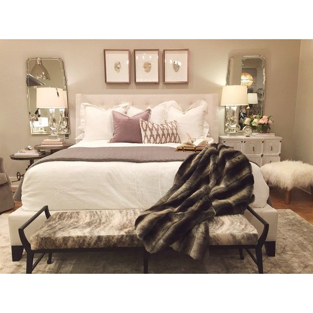 alice lane home collection, framed crystals, fur blanket, hair on hide bench, mongolian lamb ottoman, white nightstand, crystal lamp