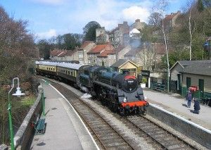 Steam train at Pickering station. The North Yorkshire Moors Railway.