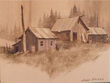 "JERRY BECKER pittura acquerello originale vecchi fienili Washington Northwest 6 da 8 """