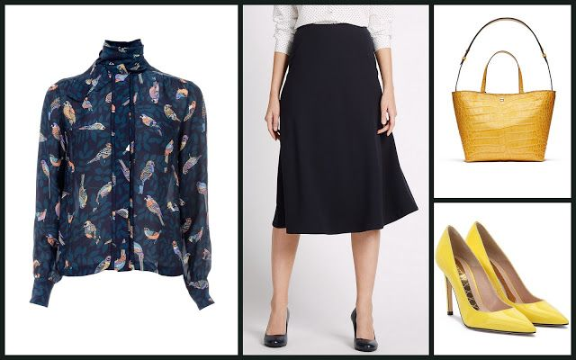 Winnie Blouse, Elizabeth & James + Crepe A-Line Skirt, Marks & Spencer + Mila pumps, Magrit + Saffron Embossed Croc Eloise Tote, Elizabeth & James #мода #стиль #сочиняемнаряд #блузка #юбка #обувь #лодочки #аксессуары #сумка #fashion #style #outfit #blouse #accessories #bag #elizabethandjames #shoes #pumps #magrit