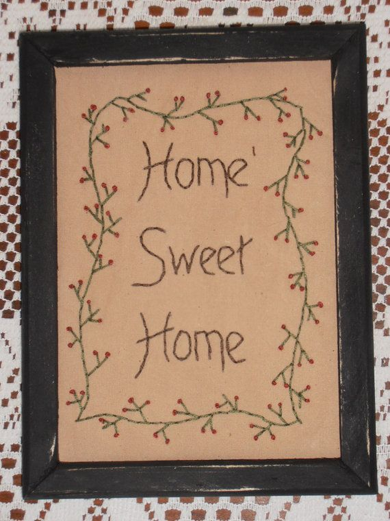 Want to make myself but in a bigger frame  Framed Primitive Stitchery Handstitched by PureCountryStitchery, $12.99