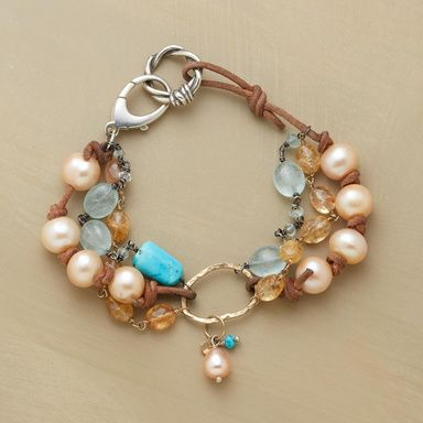 cultured pink pearls,topaz & aquamarines w/14K Gold rings, turquoise beads & leather , SS clasp 73/4L   790