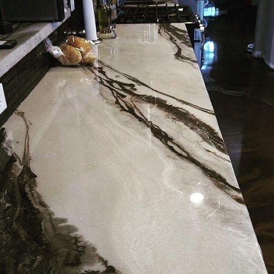 Diese Metallic Marmor Epoxy Beschichtete Arbeitsplatte Ist