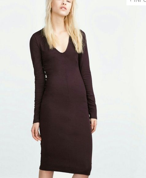 NEW Zara Dress Size Medium.. Deep V Plum color Sexy dress...form.fitting with stretch.  NEW...with tags. 5% elastane. fits size 8 -10 Zara Dresses Long Sleeve