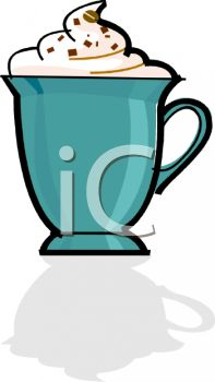 Mug Of Hot Chocolate With Whipping Cream Clipart
