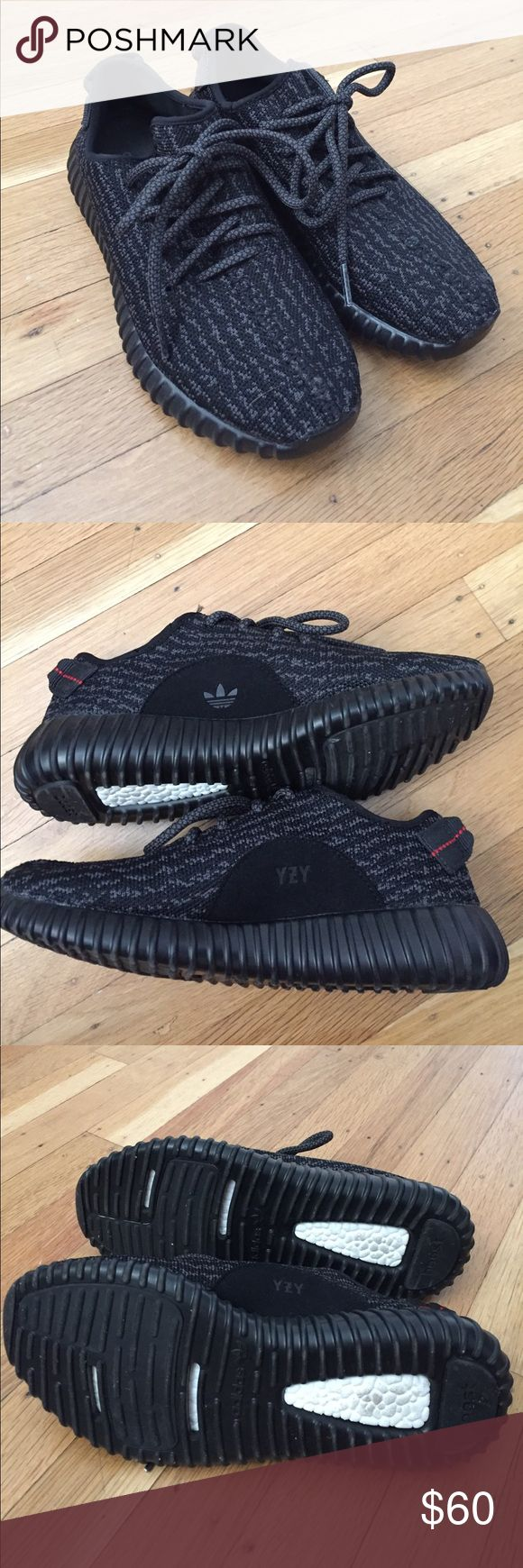 Yeezy boost 350 pirate black non authentic ( fake ) yeezy boost 350 pirate black. No box no receipt. Size 6 in men's 8 in women's. runs true to size. Yeezy Shoes Sneakers