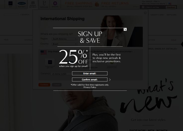 Banana Republic | newsletter | newsletter signup | email form | email | email marketing | lead generation | email pop up | signup form | e-mail