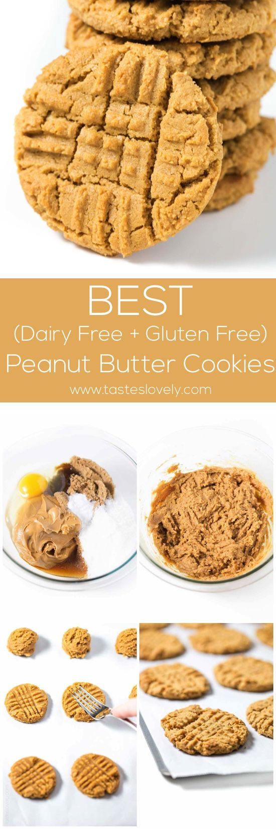 The BEST dairy free peanut butter cookies! You just need 1 bowl and 6 ingredients. Couldnt be easier! Gluten free.