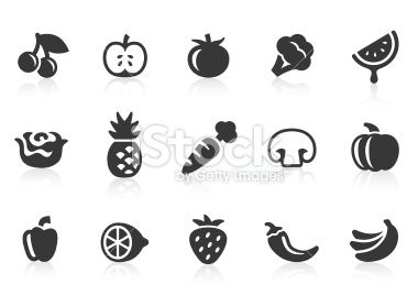 Fruits and Vegetables icons 1 stock vector art 17409966 - iStock