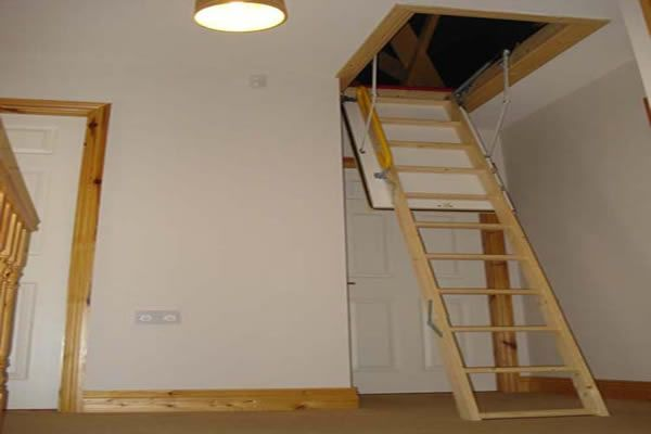 Pull down staircases attic staircases pull down attic for Garage loft stairs