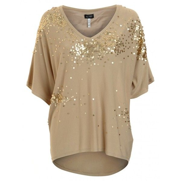 Armani Jeans Knitwear Beige Sequin Batwing Top ($255) ❤ liked on Polyvore