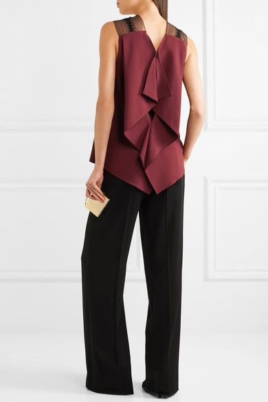Roland Mouret - Dave Lace-trimmed Draped Crepe Top - Burgundy - UK10
