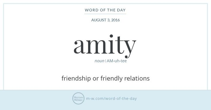 Amity has been used in English to describe friendship or friendliness for well over 500 years. It is derived from the Latin word for 'friend,'…