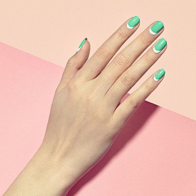 Add a bold surge of color to your minimalist manicure by trying this show-stopping moon design.