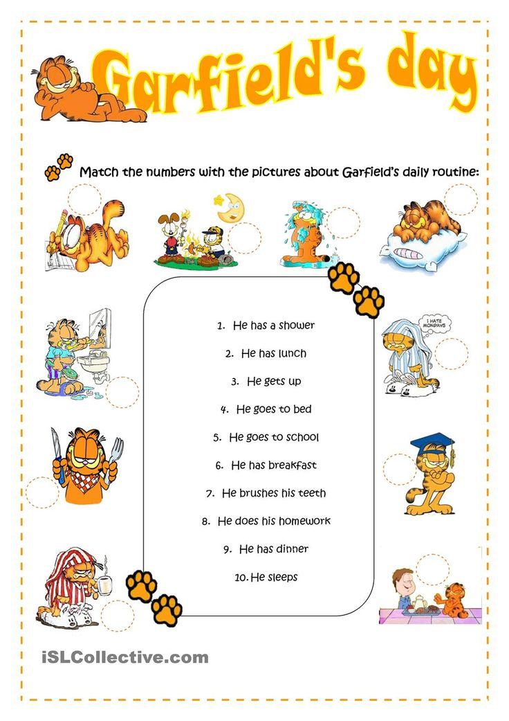 ESL for Emma: Garfields daily routine