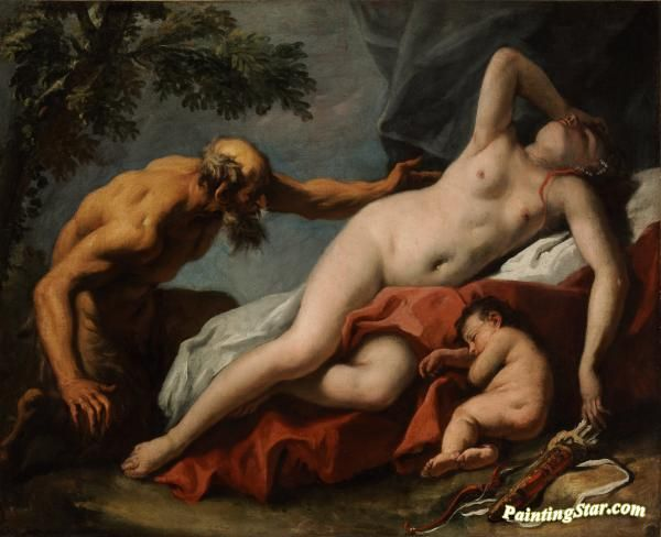 Venus and satyr Artwork by Sebastiano Ricci Hand-painted and Art Prints on canvas for sale,you can custom the size and frame