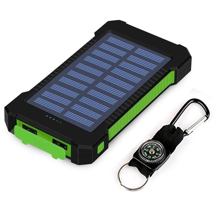 Solar Charger Solar Power Bank 10000 mAh Waterproof Led