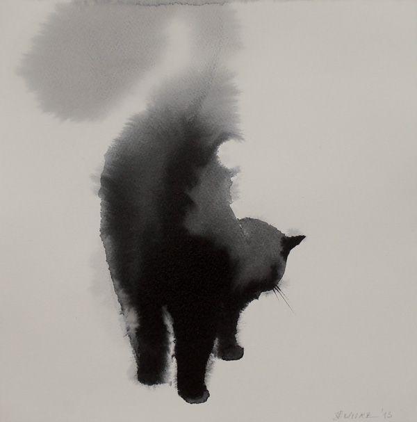 Aquarelle de Penovác Endre.le chat et son panache quelle belle oeuvre, le lavis fait son effet.