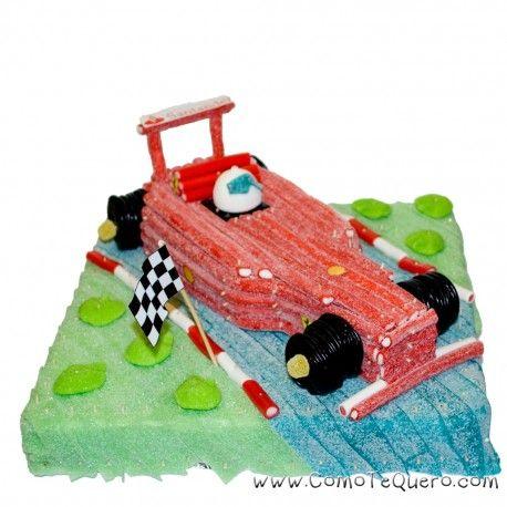 Tarta de chuches coche de carreras