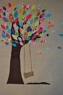 Memory tree pillow.  Cute idea, cute pillow, a lot of (easy) work.