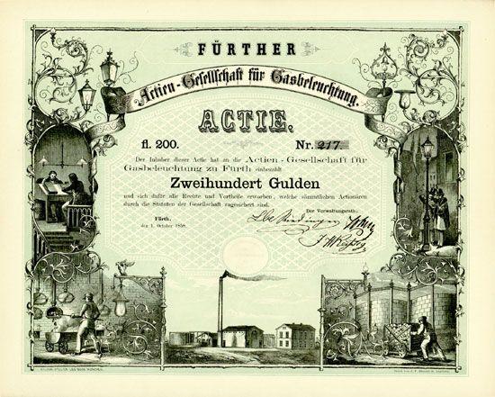Actien-Gesellschaft für Gasbeleuchtung 200 Gulden Fürth