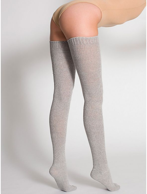 Sexy thigh-high knit socks offered in solid heather colors.