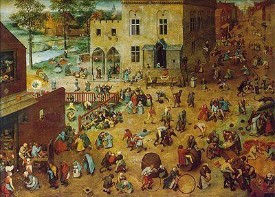 'De kinderspelen' van Pieter Breugel de Oude toont 80 kinderspelen die vroeger in de Nederlanden gespeeld werden