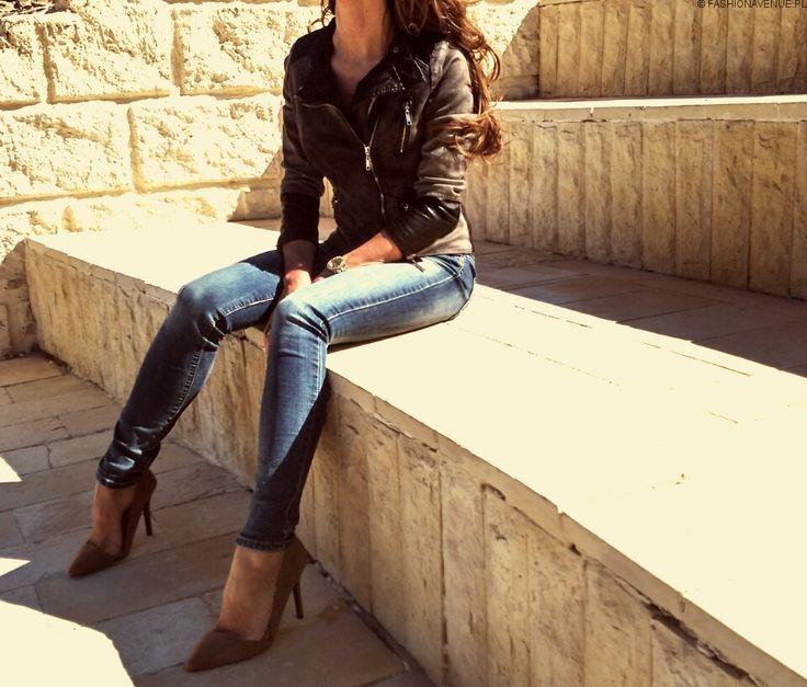 Kurtka Damska Jeans + Skóra Ramoneska Wiosna Lato 2016 model #113 fashionavenue.pl