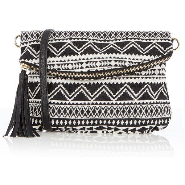 OASIS Aztec Cross-Body Bag (€36) ❤ liked on Polyvore featuring bags, handbags, shoulder bags, multi, crossbody shoulder bags, oasis handbags, cross body, aztec print handbags and aztec handbag