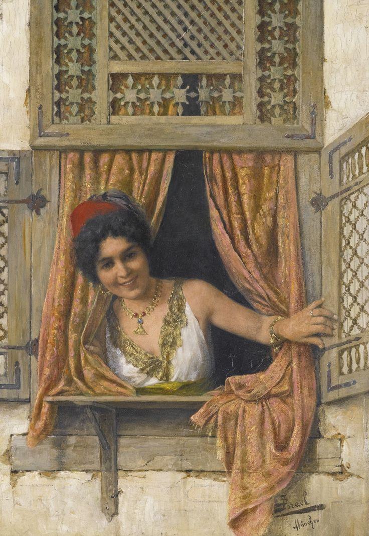 DANIEL ISRAEL AUSTRIAN 1859-1901 WOMAN AT A WINDOW