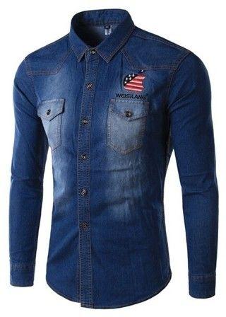 Camisa en Jeans Moderna y Juvenil con Estampado Americano - Cuello Mandarín
