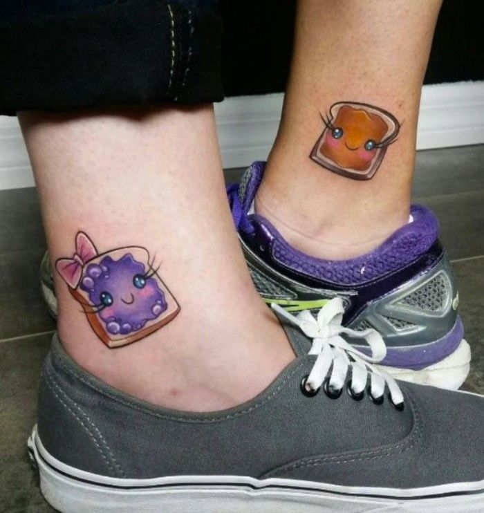 Peanut Butter Jelly Sandwich Ankle Tattoos Cute Matching Tattoos Coloured In 2020 Best Friend Tattoos Tattoos For Daughters Matching Best Friend Tattoos