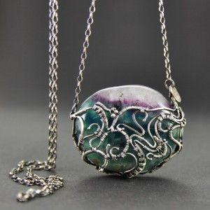 SELVARA | Monika Kraczek  Unique, wire-wrapped silver necklace with fluorite. Shop: www.monikakraczek.com