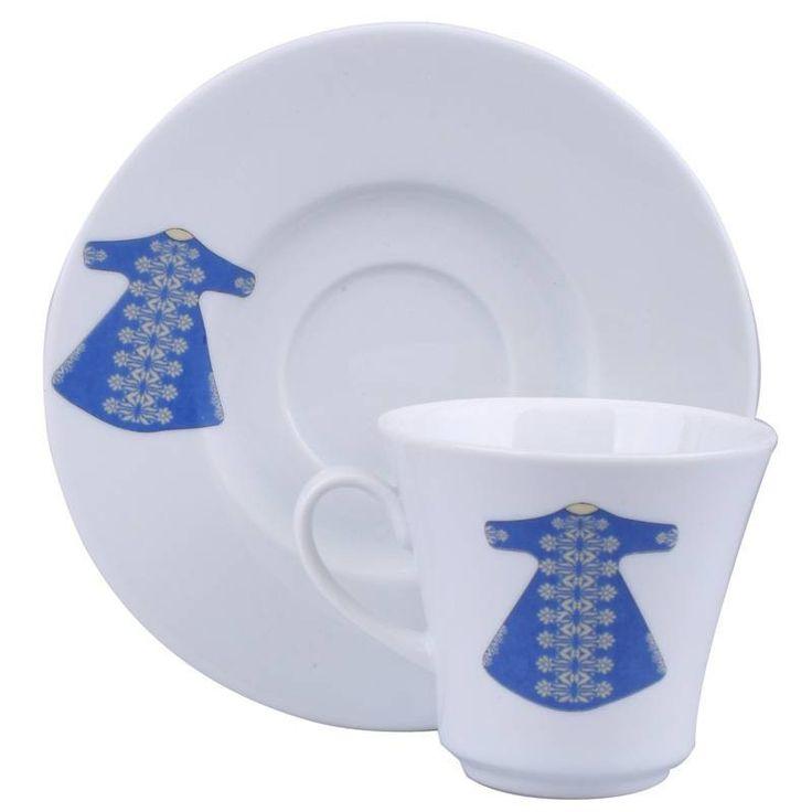 Kutahya Porcelain Ottoman Kaftan Turkish Coffee Set of Six