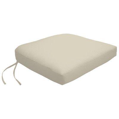 Wayfair Custom Outdoor Cushions Knife Edge Outdoor Contour Dining Chair Cushion with Ties Fabric: Fresco Natural, Width: 19, Depth: 18