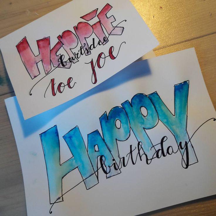 Happy birthday to you  •  Leuke verjaardagskaarten!!  •  Interesse? DM me!  Ook op aanvraag!  •  #handletteren #handlettering #calligraphy #brushlettering #ecolinebrushpen #ecoline #happybday #verjaardagskaart #verjaardag #jarig #kadootje #kaligraferen #jongen #meisje