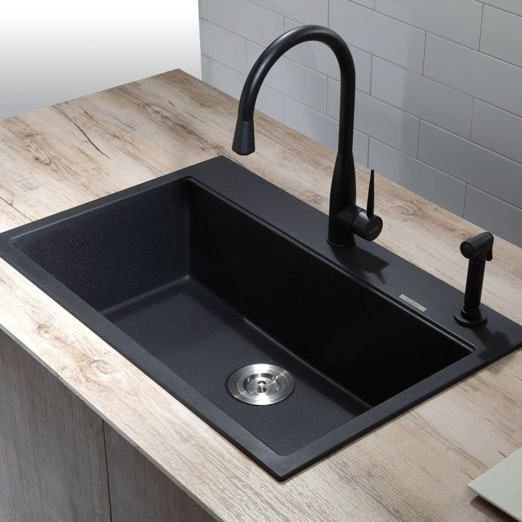 exceptional Black Enamel Kitchen Sink #3: Constructed from natural granite, with the look and feel of real stone,  this modern kitchen sinks look striking in a
