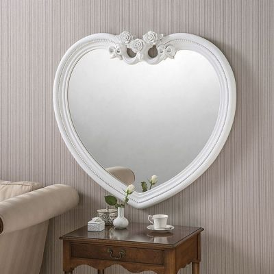 White Heart Shaped Mirror - 97 x 91cm