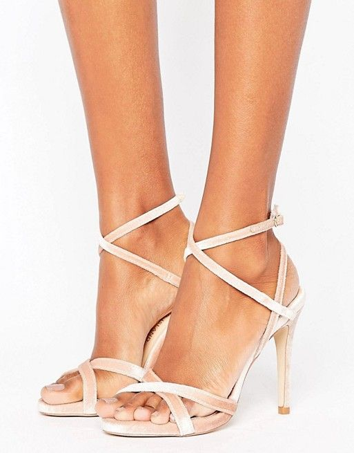 River Island pink Velvet Barely There Heels asos