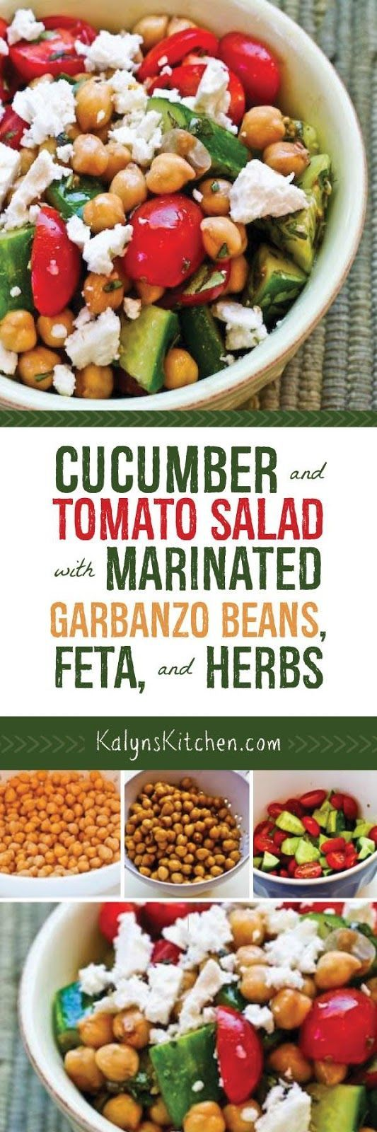 Marinating the garbanzo beans while you chop the other ingredients adds AMAZING flavor to this Cucumber and Tomato Salad with Marinated Garbanzo Beans, Feta, and Herbs! Use less beans if you want lower carbs for this salad that's vegetarian, gluten-free, and South Beach Diet Phase One. [found on KalynsKitchen.com]