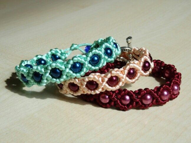 Bracelets made of satin cord and beads