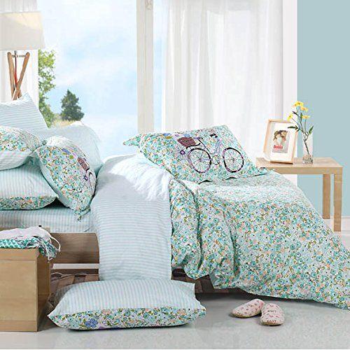 LELVA Floral Bed Sheet Set Girls Bedding Set Cotton 4-Piece Bedding Duvet Cover Set Floral Bedding Full Queen (Queen, Flat Sheet) //Price: $88.54 & FREE Shipping //     #hashtag3