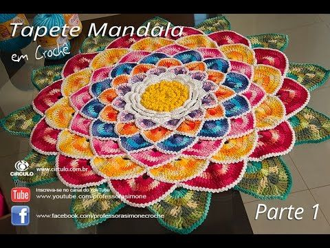 Tapete Redondo de Crochê Mandala parte 1 - Professora Simone. Link download: http://www.getlinkyoutube.com/watch?v=KYqgujt6zqc