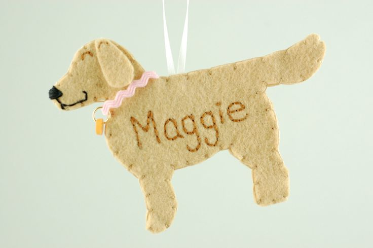 Personalized Felt Ornament Golden Retriever Dog Made to by Tumus, $17.50
