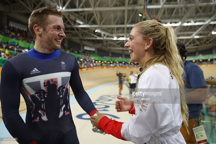 Gold medalist Jason Kenny of Great Britain celebrates with girlfriend, cycling…