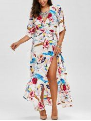 High Slit Flower Belted Maxi Surplice Dress - WHITE XL Mobile